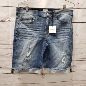 Sneak peek denim jeans shorts new midrise Bermuda